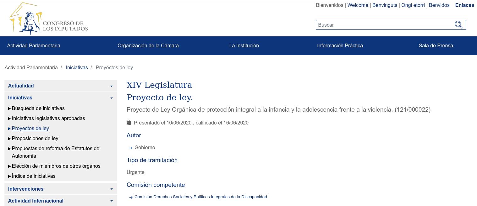 Portada de la página web del Congreso de los Diputados que recoge el Proyecto de Ley