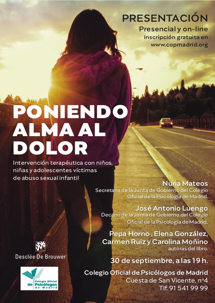"""Invitación a la presentación del libro """"Poniendo alma al dolor"""" en el Colegio Oficial de la Psicología de Madrid"""