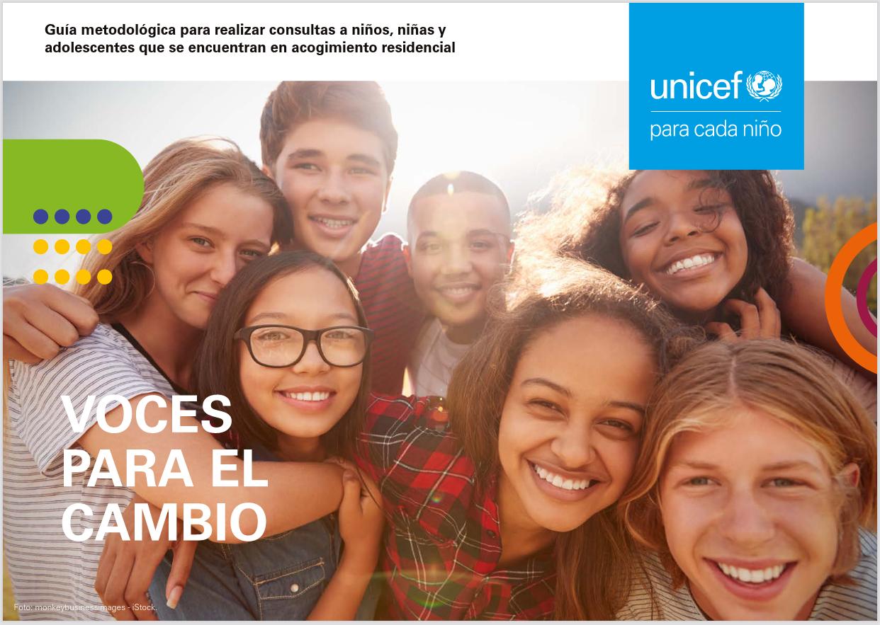 """Portada de la guía """"Voces para el cambio"""", por Pepa Horno y F. Javier Romeo, para UNICEF España"""